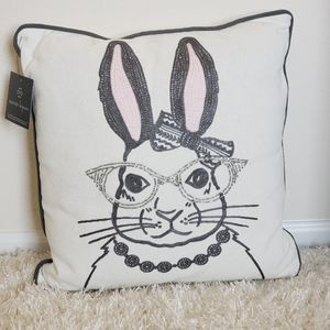 Easter Beaded Bunny Throw Pillow
